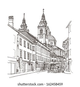 Vector drawing of central street of old European town, Ljubljana, Slovenia