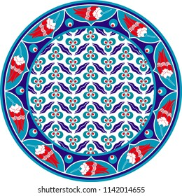 Vector drawing for ceramic plate. It is mostly prepared with Blue, Red and White colors. It is used as wall decoration, dinner plate, ceramic and tile motif, gift card.