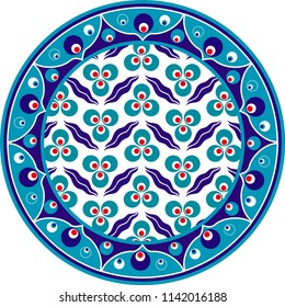 Vector drawing for ceramic plate. It is mostly prepared with Blue, Red and White colors. Cintemani.  It is used as wall decoration, dinner plate, ceramic and tile motif, gift card.