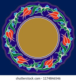 Vector drawing for ceramic plate. It is mostly prepared with Blue and White colors. It is used as wall decoration, dinner plate, ceramic and tile motif, gift card.