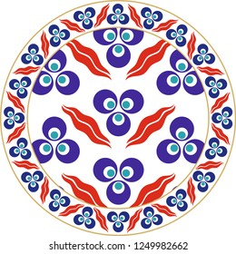 Vector drawing for ceramic plate. It is mostly prepared with Blue, Red and White colors. Ottoman Cintemani design. It is used as wall decoration, dinner plate, ceramic and tile motif, gift card.