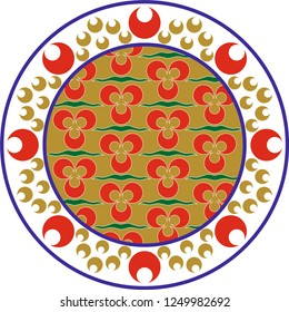 Vector drawing for ceramic plate. It is mostly prepared with Green, Red and White colors. Ottoman Cintemani design. It is used as wall decoration, dinner plate, ceramic and tile motif, gift card.