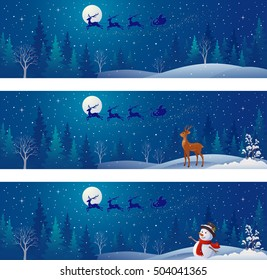 Vector drawing of Christmas night scenes with Santa Claus sleigh silhouette above snowy forests, greeting snowman and deer, panoramic banners collection