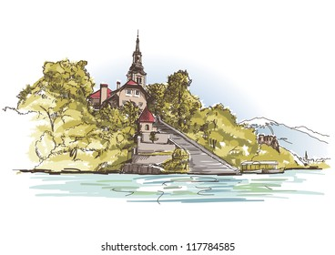 Vector drawing of a church on the island in lake Bled in Slovenia