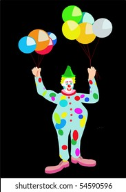 Vector drawing of a circus clown with colored balloons, with blue, red, yellow, green, on black.