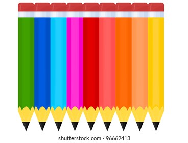 Vector drawing of a colorful crayons on white background
