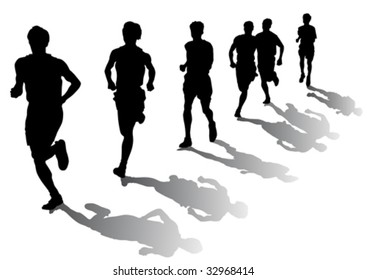 Vector drawing competition on the run. Silhouettes on a white background