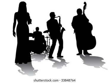 Vector drawing concert of jazz music. Silhouettes on a white background