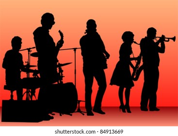 Vector drawing concert of jazz music