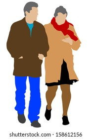 Vector drawing of a couple of women and man.