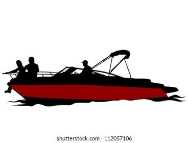 Vector drawing couples on boat