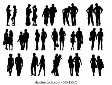 Vector drawing couples on the walk. Silhouettes on white background