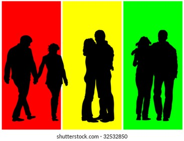 Vector drawing couples. Silhouettes on a color background