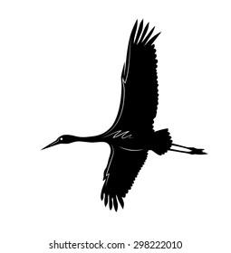Vector drawing of crane flies in the sky.