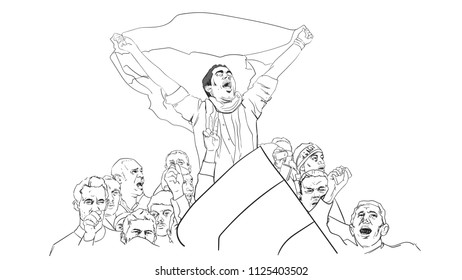 Vector drawing of crowds celebrating political victory, Demonstration of people, pride march