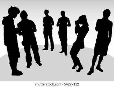 Vector drawing crowds of photo. Silhoutte of people