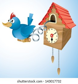 Vector drawing of a cuckoo clock/Cuckoo clock/ Easy to edit vector drawing, easy to edit layers and groups, copy and paste or export to any format.