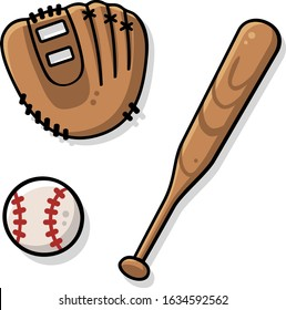 Vector drawing of cute baseball equipment with flat colors and shadows. Includes a brown mitt, a big ball and a wooden bat.