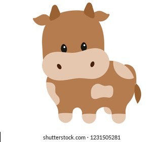 Vector drawing of a cute brown little bull.
