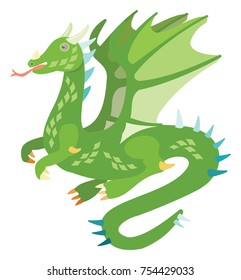 Vector drawing of a cute green dragon with wings