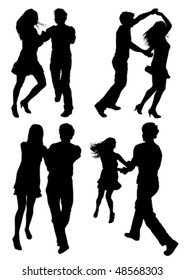 Vector drawing dancing couples. Silhouettes on white background