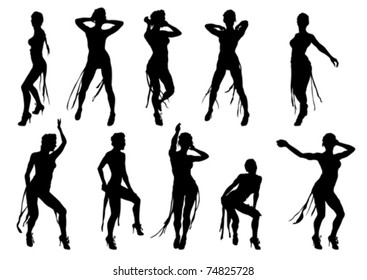 Vector drawing dancing girl on a white background