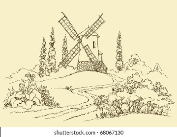 Vector drawing. The dashed outline of the summer landscape with mill