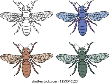 Vector drawing of the decorative flies