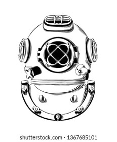 Vector drawing of diving helmet in black color, isolated on white background. Graphic illustration, hand drawing. Drawing for posters, decoration and print. Vector illustration