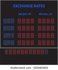 Vector drawing of an electronic LED currency exchange screen for a bank