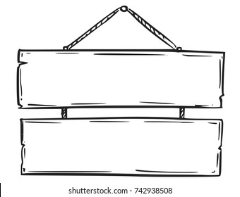 Vector drawing of empty blank wooden sign board with rope