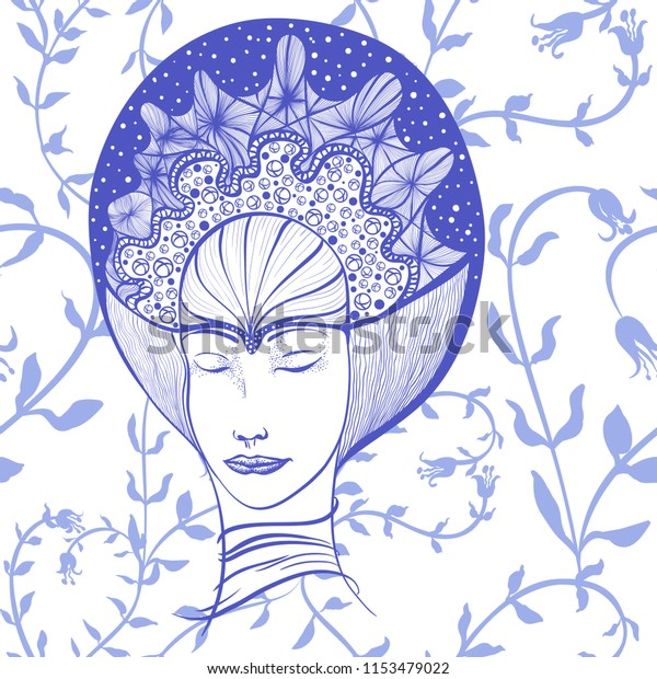 Vector Drawing Face Girl Her Eyes Stock Vector Royalty Free