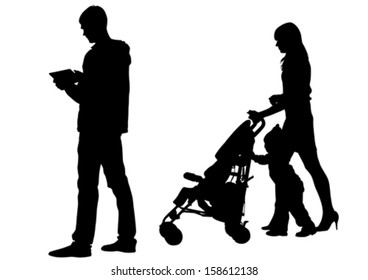 Vector drawing families with a child.