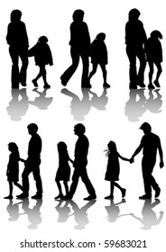 Vector drawing families with a child for a walk. Silhouettes on a white background