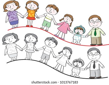 vector drawing family background