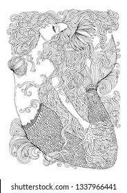 Vector drawing fantastic sea mermaid with long wavy hair. Ornamental decorated graphic illustration of a mermaid tattoo. Coloring  page sea nymph. For print t-shirts. Fairy tale mythical characters.