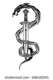 Vector drawing of a fantastic sword of the Viking and dragon. Fantastic snake. Image of a sacred sign of Vikings. Sacral symbol. Norman culture. Vector illustration.