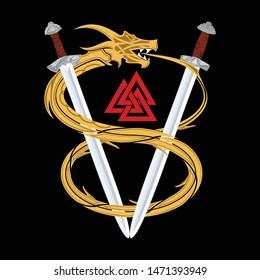 Vector drawing of a fantastic sword Viking and gold dragon. Sacred symbol of Celts. Norman culture. Fantastic snake. Triskelion. Triskele. Valknut. Scandinavian tattoo. Vector illustration.