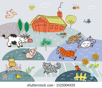 Vector drawing of a farmyard in a funny style. Various animals and birds. For design and cards.