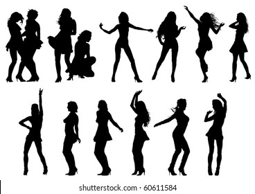 Vector drawing the female body in various poses