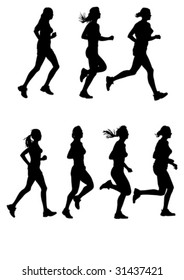 Vector drawing of female marathon. Silhouettes on a white background
