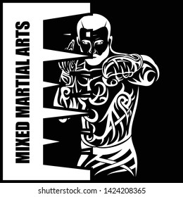 Vector drawing of the fighter of mixed martial arts. MMA. Octagon. Combat champion. Illustrations for t shirt print. Vector sketch for your design.