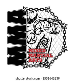 Vector drawing of the fighter of mixed martial arts. MMA. Octagon. Combat champion. Illustrations for t shirt print. Vector sketch for your design. Tribal tattoo.