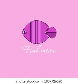 Vector drawing fish.Violet background.Fish menu.
