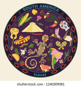 vector drawing in flat style on the theme of South America, animals, buildings, plants, holidays, continent map, food design elements tourism travel, sticker design for printing and decoration