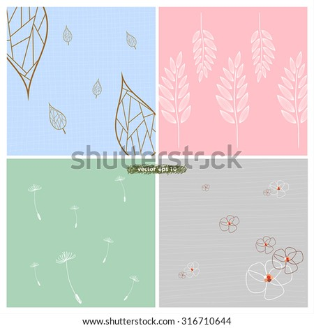 Vector Drawing Flora Set Colorful Background Stock Vector Royalty