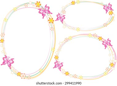vector drawing flower and butterfly border
