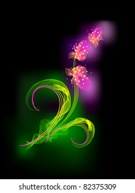 The Vector drawing of flower. On black background gentile orchid. Stylized. Abstract.