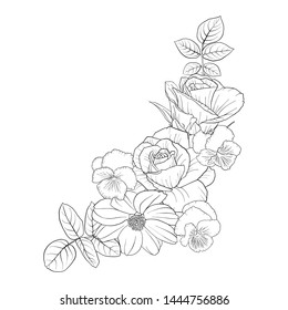 vector drawing flowers, decorative rosette, stylized designtemplate, isolated floral element, hand drawn botanical illustration,coloring page
