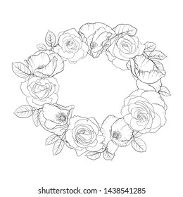vector drawing flowers and leaves of roses and poppies, isolated floral composition, hand drawn botanical illustration